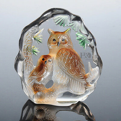 Crystal Paperweight Animal Owl Figurines Collectibles Decorative Ornament Gifts