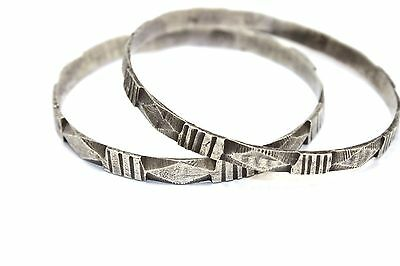 Pair of SIGNED Antique HANDMADE Sterling Silver LIBYAN BEDOUIN Bangle Bracelets