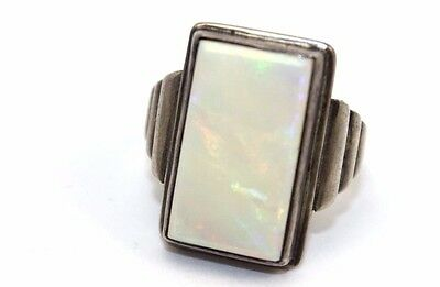 BIG Vtg ART DECO Sterling Silver OPAL Ring LOTS OF FLASH RED / MULTI COLOR Sz 10