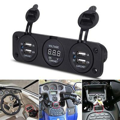 12V Dual USB Charger Adapter Blue LED Voltmeter Waterproof Car Boat Marine Panel