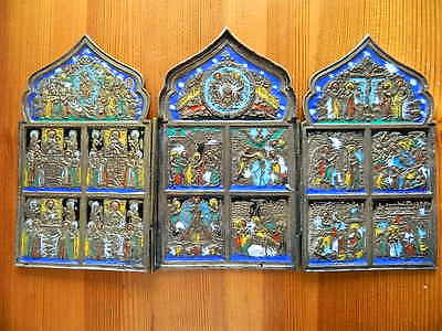 Antique 18 Century Russian Orthodox 7 Colors Enamel Brass Icon