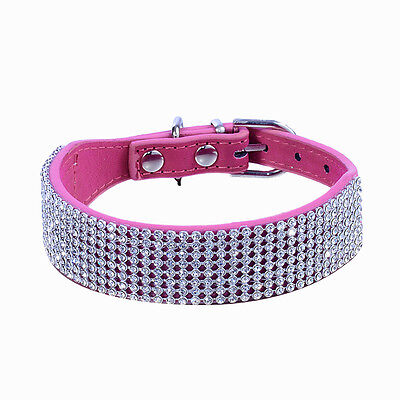 Pet Dog Cat Luxury Diamante Collar Band Rhinestone Crystal Bling PU Leather New