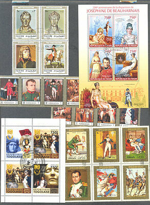 Napoleon on stamps 175 all  different collection-Josephine-Dress-Uniforms