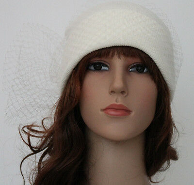 A Trendy Vintage Off White Knitting Hat  With White Net.