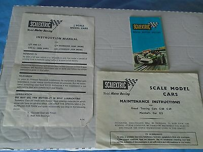 SCALEXTRIC BROCHURE  60s/early 70s PLUS MAINTENANCE & INSTRUCTION PAPERWORK