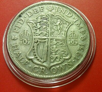 1931 Xf Half Crown George V British Silver Coin Protective Capsule