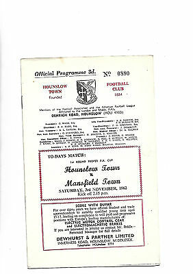 3/11/62 very rare  FACup  Hounslow V Mansfield Town