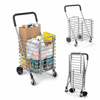 Shopping Carts Folding Grocery With Wheels For Seniors Rolling Travel Home Light