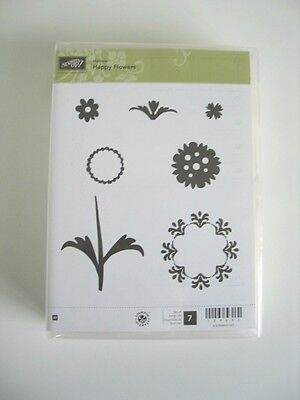 Stampin UP! Happy Flowers Wooden Rubber Stamp / Craft Clearout