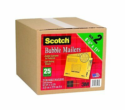 Scotch Bubble Mailer 8.5 Inches X 11 Inches, Size 2 - 25 Pack