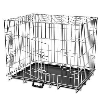 New Foldable Transportable Metal Dog Cage Crate Pet Suitcase Travel Carrier M