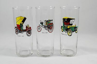 Vintage Cars Drinking Glasses, Set of 3 ~ Peugeot  Humberette  Benz ~  ITALY