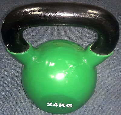 USED 24KG Vinyl Kettlebell Strength Training Home Gym Fitness Kettlebell REF 94