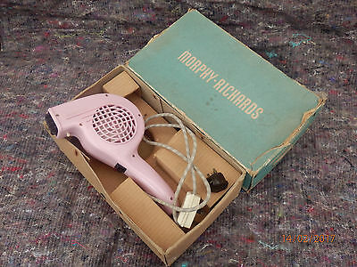 Retro Vintage Pink Morphy Richards Noiseless Hair Dryer Boxed 1960s