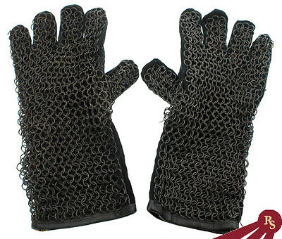 CHAINMAIL GAUNTLETS - Medieval Knight Leather - GLOVES