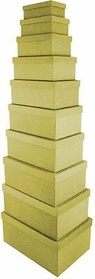 10 Rectangular Glitter Gold Nesting Gift Boxes Decor Xmas Storage Party Wedding