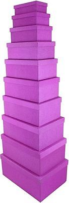 10 Rectangular Glitter Pink Nesting Gift Boxes Decor Xmas Storage Party Wedding