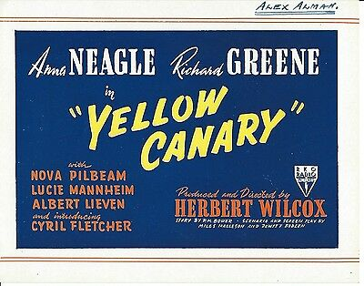 """Cinema, Opening Leaflet Advertising """"yellow Canary"""" With Anna Neagle, 1943"""