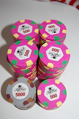 100 Rares  Jetons Chips  Poker Paulson Top Hat And Cane Valeur 500 Et 5000