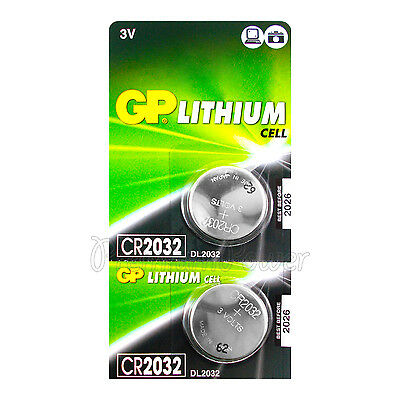 2 x GP Lithium CR2032 batteries 3V Coin Cell DL2032 BR2032 Remote Watch