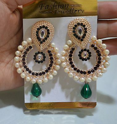 Indian Stunning Pearl Green CZ Earrings Gold Tone Bollywood Wedding Jewelry