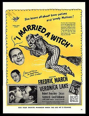 """Original 1942 """"i Married A Witch"""" Fred March Veronica Lake Movie Art Print Ad"""