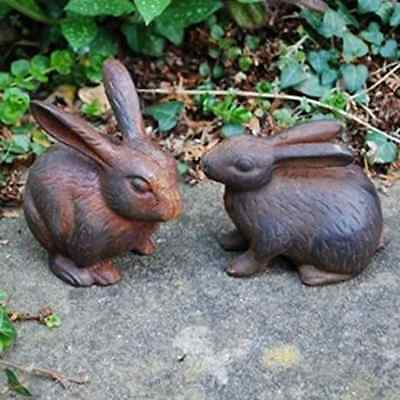 Rabbit Garden Ornaments Sculpture Set Pair Of Solid Cast Iron