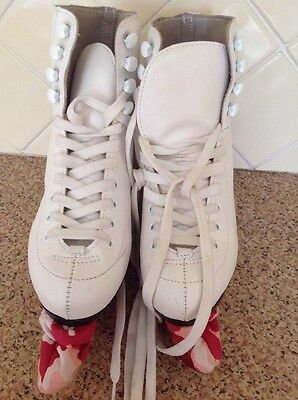 Great Oxelo White Girls Ice Skating Boots Uk Size 1.5 Worn Good Condition