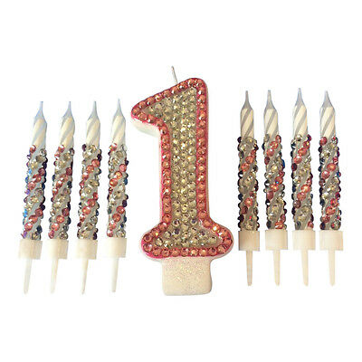 Diamanté Birthday Candle Set Pink and Silver Cake Topper Party All Numbers