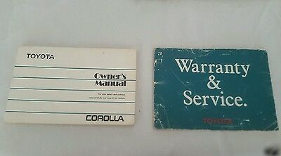 Toyota Corolla owners manual + warranty book