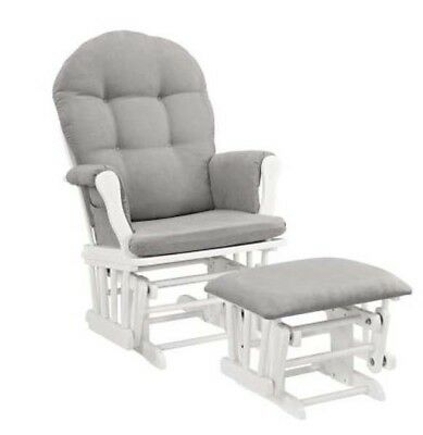 Angel Line Windsor Glider and Ottoman Chair White W/ Gray Cushion Baby Seat New