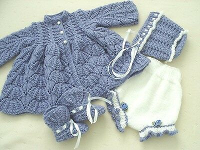 "Hand Knitted 4 Piece Matinee Set For A Baby Girl ~ Reborn 18-20"" Or 0-3 Mth Baby"