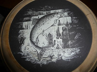 Slate Art, Leaping Fish/Salmon on Round Slate inset in a Solid Wood Round Frame