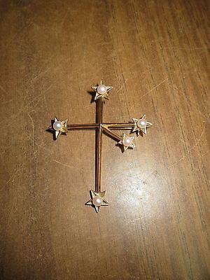 14k Yellow Gold Brooche Cross whit Pearls  6.2 gr