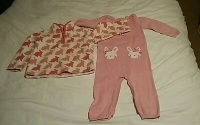 girls 9-12 months spring easter bundle pink bunny fleece and knitted romper.