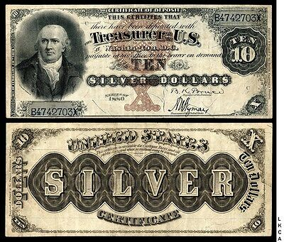 $10 Series Of 1880 Silver Certificate