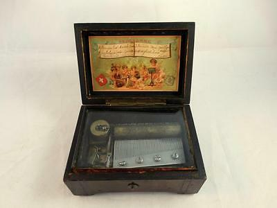 Antique 19th c.Swiss Cylinder Table Music Box Mermod Freres 4 Tunes ~ WORKS