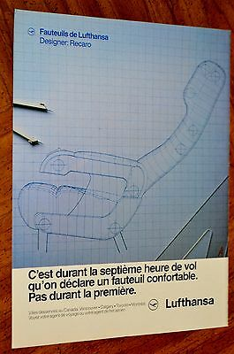French 1984 Lufthansa Airlines Recaro Jetliner Seat Comfort Design Canadian Ad