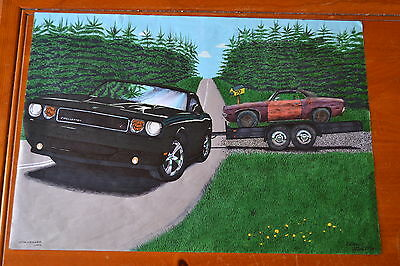 BIG 2009 DODGE CHALLENGER RT TOWING A 1970 / ART DRAWING - BY ELTON Mc FALL