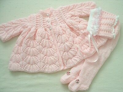"Hand Knitted 3 Piece Matinee Set For A Baby Girl ~ Reborn 19-21"" Or 0-3 Mth Baby"