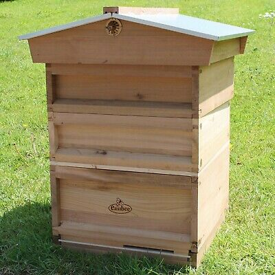 National Bee Hive Gabled Roof Cedar New 2 Super 1 Brood Beekeeping Beehive 266