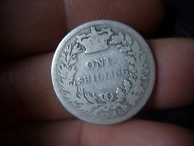 Silver Victorian Shilling Dated 1846 From A Large Collection Find