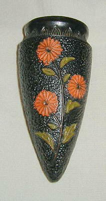 OLD TOKANABE WARE JAPANESE ART DECO STYLE POTTERY WALL POCKET, w FLOWERS