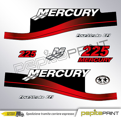 KIT Adesivi motore MERCURY 225 cv fourstroke/efi/optimax/saltwater plastificati.