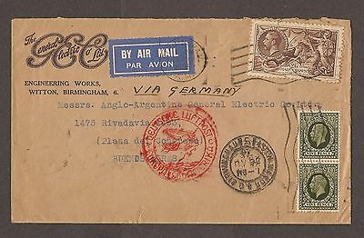 1936 Airmail Letter To Argentina Via Germany - Seahorses Stamp / George V
