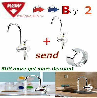 2pcs LED Digital Display Instant Heating Electric Water Heater Faucet Tap HOT SG