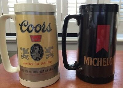 2 THERMO-SERV  PLASTIC BEER MUGS Coors and Michelob