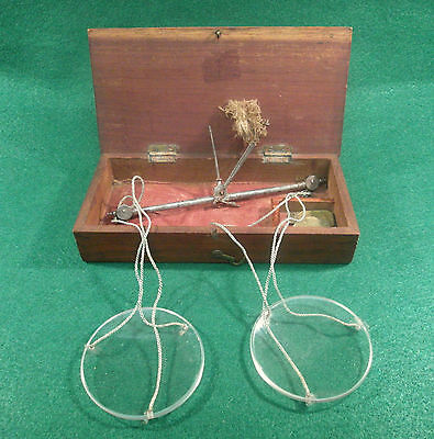 ANTIQUE 1800s APOTHECARY~OPIUM PORTABLE SCALE~ORIG. WEIGHTS + BOX~COIN BULLION