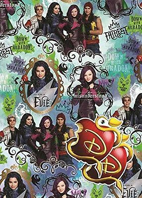 2 Sheets Disney Descendants Gift Wrap Childrens Birthday Wrapping Paper Party