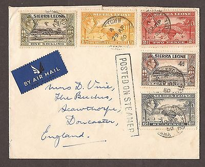 1950 Sierra Leone Airmail Letter To England 'posted On A Steamer'